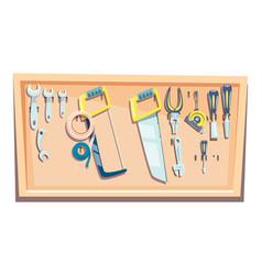set carpenter tools kit for woodworking vector image