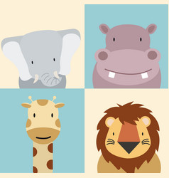 set cute animal vector image