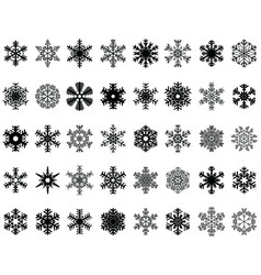 set different black snowflakes vector image