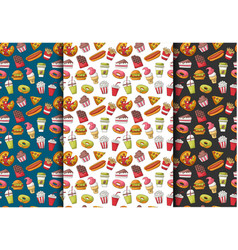 set of fast food seamless pattern backgrounds vector image
