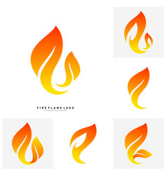 set of fire logo concept fire leaf logo template vector image