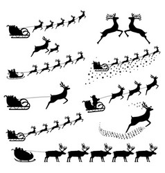 set silhouettes santa claus in harness vector image