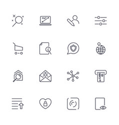 set with different icons in modern style vector image