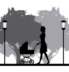 Silhouette woman walking with pram baby in park vector