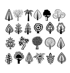 silhouettes trees nature vector image