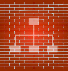 Site map sign whitish icon on brick wall vector