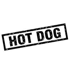 Square grunge black hot dog stamp vector