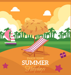 Summer holiday banner with beach and lounge chair vector