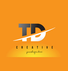 Td t d letter modern logo design with yellow vector
