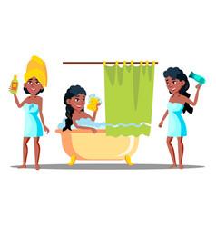 teenager girl washing long hair with shampoo vector image