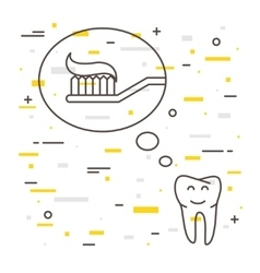 Tooth thinks about toothbrush with toothpaste vector image