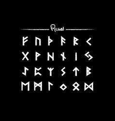 Viking runes elder futhark alphabet retro norse vector