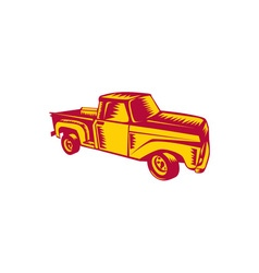 Vintage Pick Up Truck Woodcut vector