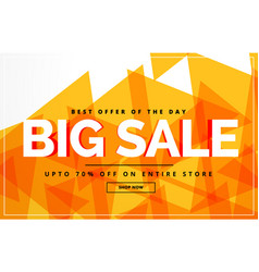 yellow abstract big sale banner or voucher design vector image