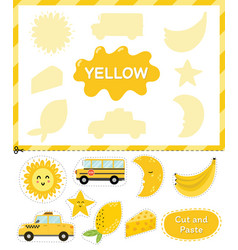 Yellow color cut elements and match them vector