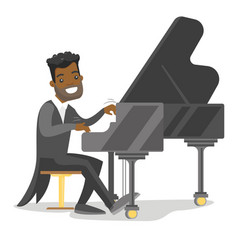 Young african-american man playing piano vector