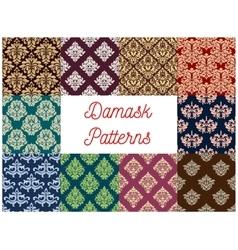 Damask floral seamless patterns set vector image