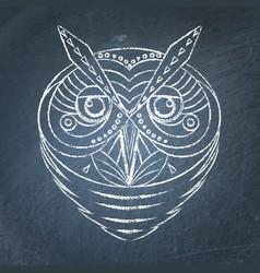 geometric owl on chalkboard vector image