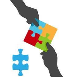 collaborate puzzle vector image vector image