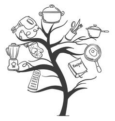 Kitchen set tree hand draw style vector