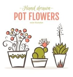 Set of hand drawn houseplants in pots vector image