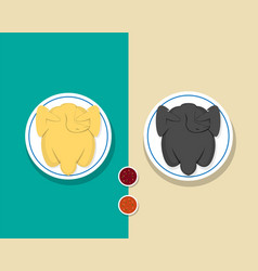 top view whole steamed chicken and roasted turkey vector image