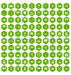 100 national flag icons hexagon green vector
