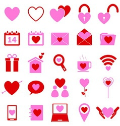 Love color icons on white background vector image