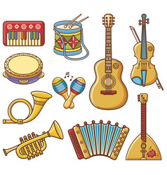 musical instruments design set monochrome vector image
