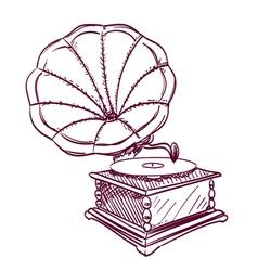 phonograph hand drawn vector image
