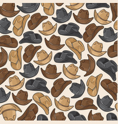 background pattern with cowboy hats vector image vector image