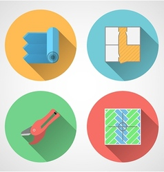 Flat icons for linoleum flooring service vector image vector image