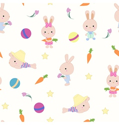Kids cute seamless pattern with bunnies on white vector image vector image