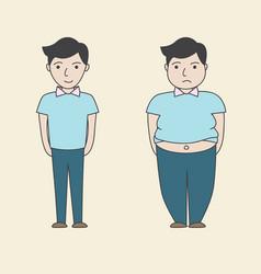 man slim fat cartoon vector image vector image