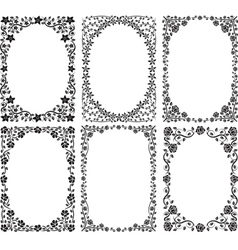 silhouette of frames with floral decoration vector image