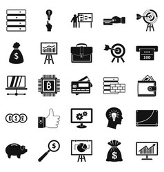 stockbroker icons set simple style vector image