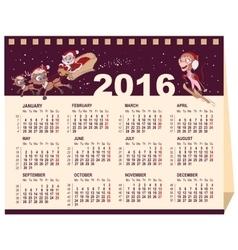 2016 calendar Desk calendar vector