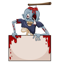A zombie with an empty signboard vector