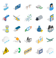 Aeronautical icons set isometric style vector