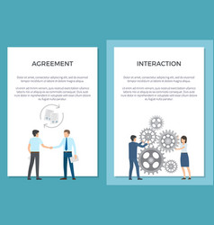 agreement and interaction set of posters with text vector image