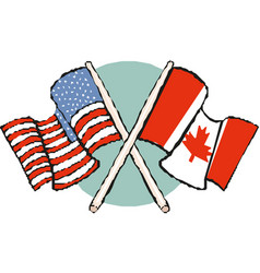 american and canadian flags vector image