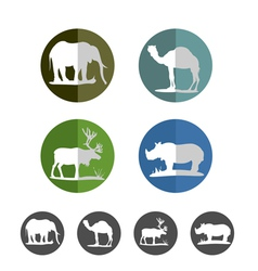 Animal flat icons vector image