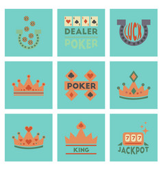 Assembly flat icons poker symbols vector