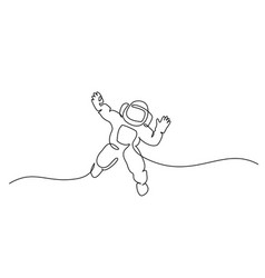 Astronaut logo one continuous line drawing vector