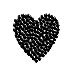 Big heart shape filled with hands vector