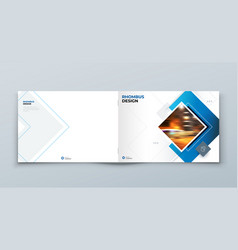 Blue horizontal cover template layout design vector