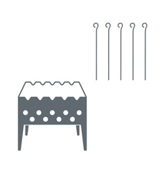 Brazier with skewers icon vector