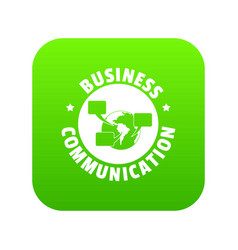 business communication icon green vector image