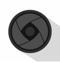 Camera lens icon flat style vector