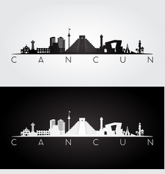 cancun skyline and landmarks silhouette vector image